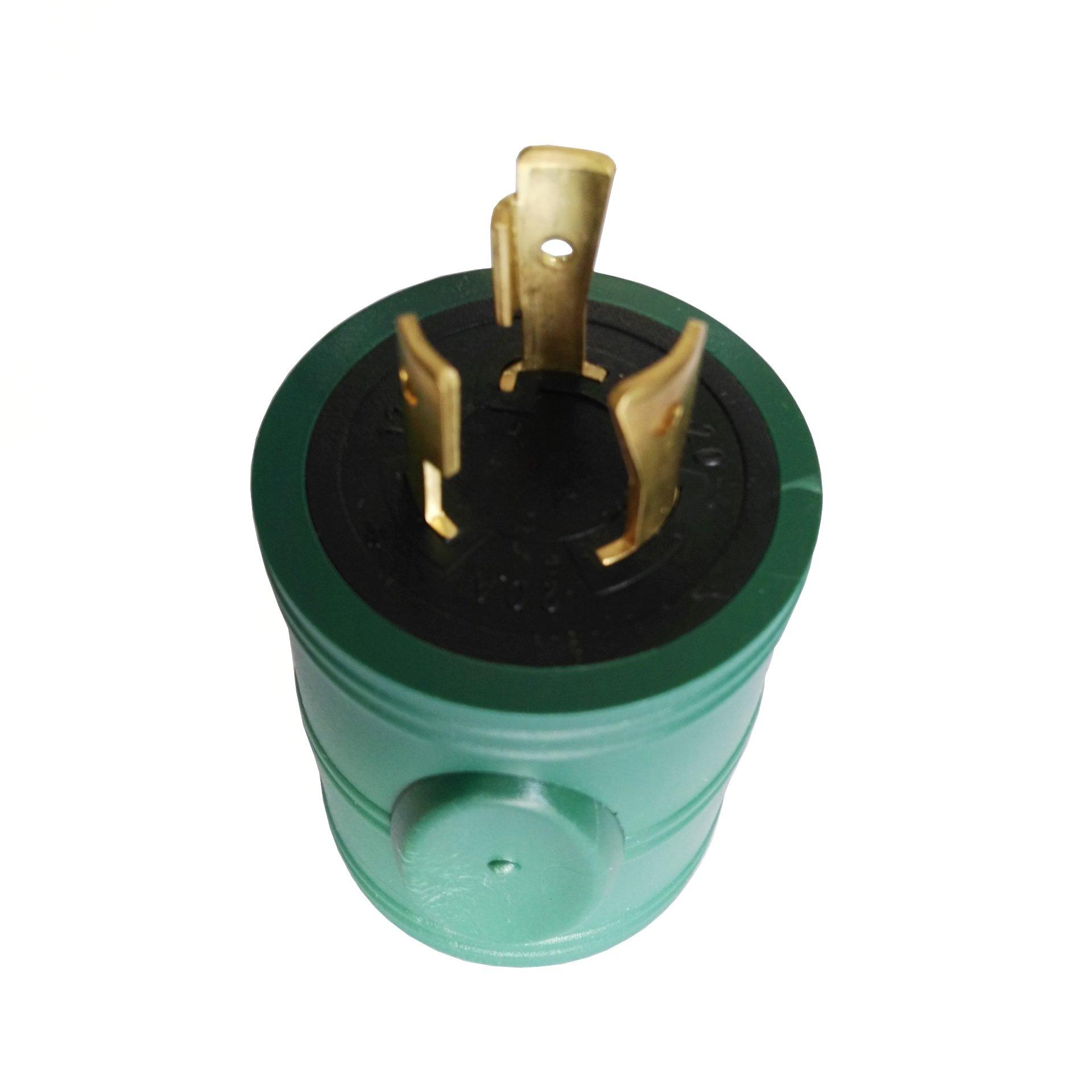 Parkworld 691777 20 AMP Power Adapter 3-Prong Generator Locking L5-20 Male Plug to RV TT-30 Female Receptacle, Green
