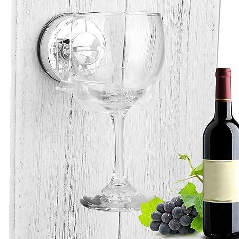 Soporte de copa de vino de cristal para baño y ducha, con ventosa portátil para