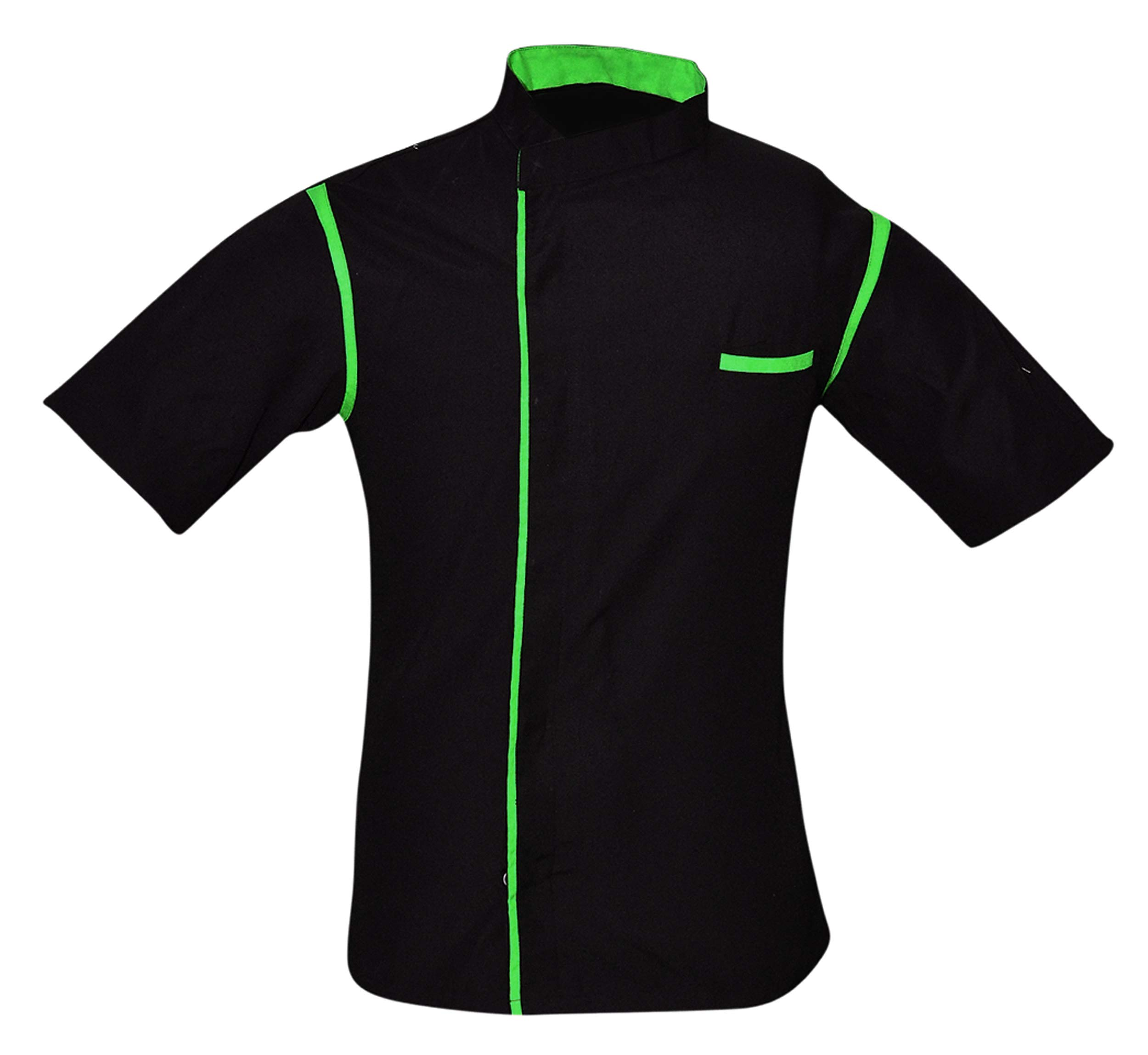 Leorenzo Creation HN-06 Men's Chef Coat with Green Piping (Size- XXXXL, Black Colour)
