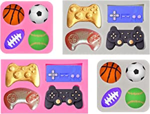 Whaline 4Pcs Game Controller Fondant Mould & Ball Mold Silicone Video Game Controller Candy Mold Football Baseball Basketball Rugby Mold for Chocolate Cake Cupcake Topper Decor Resin, Pink & Gray