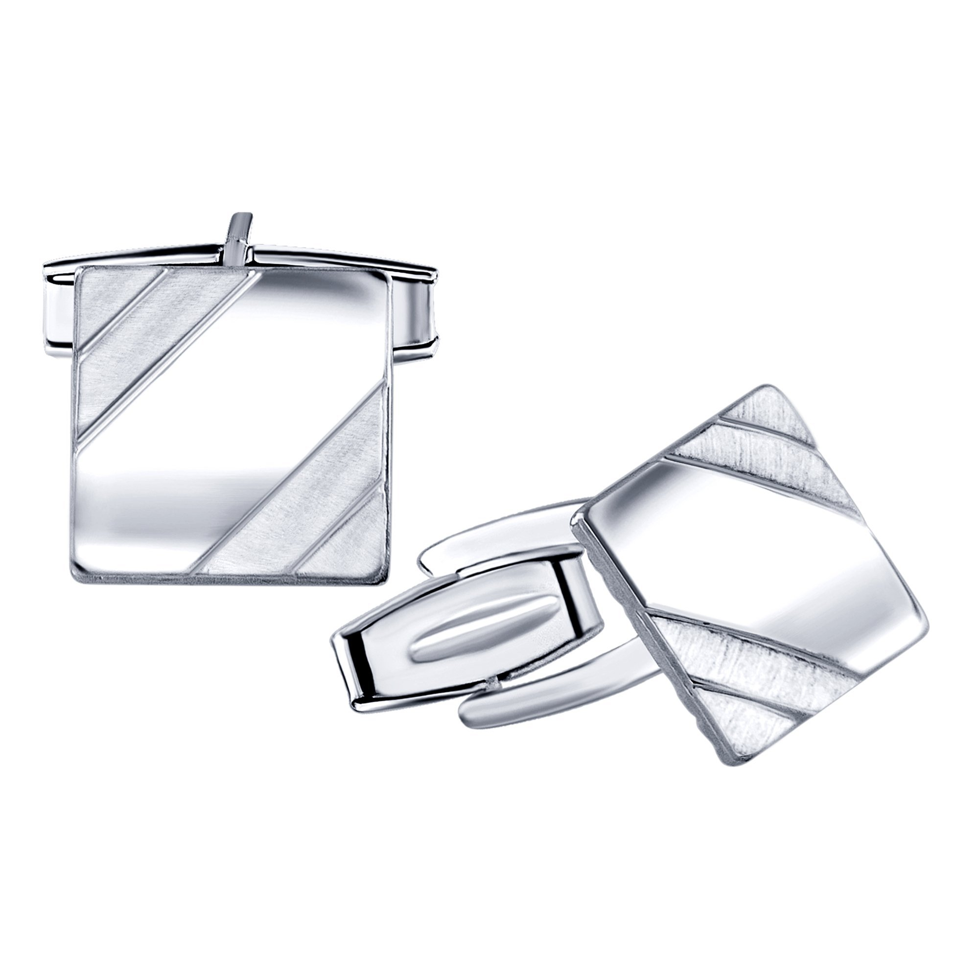 Men's Sterling Silver .925 Square Cufflinks with Satin Finish Accents in Two Corners, Engravable. Made In Italy. 14mm by Sterling Manufacturers (Image #2)