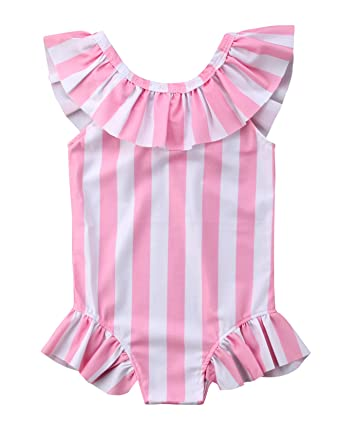 c73d74d45b7c0 Amazon.com: Urkutoba Baby Girl Striped Print Bikini Ruffles Lotus Collar  One-Piece Swimsuit Pink Bathing Suits for Summer Vacation: Clothing