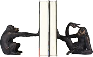 Benjara Polyresin Bookend Pair with Monkey Design and Carved Details, Bronze