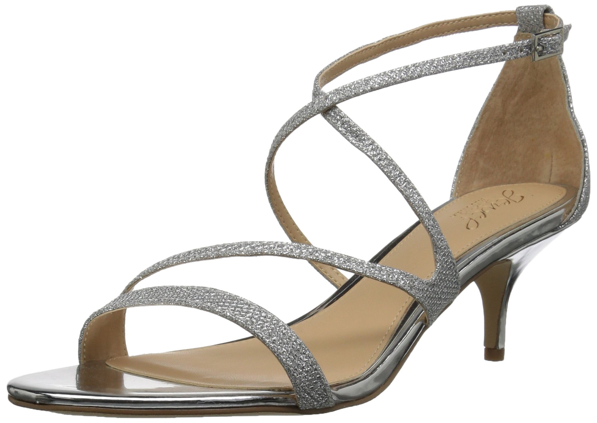 Badgley Mischka Jewel Women's Gal Heeled Sandal, Silver, 10 Medium US