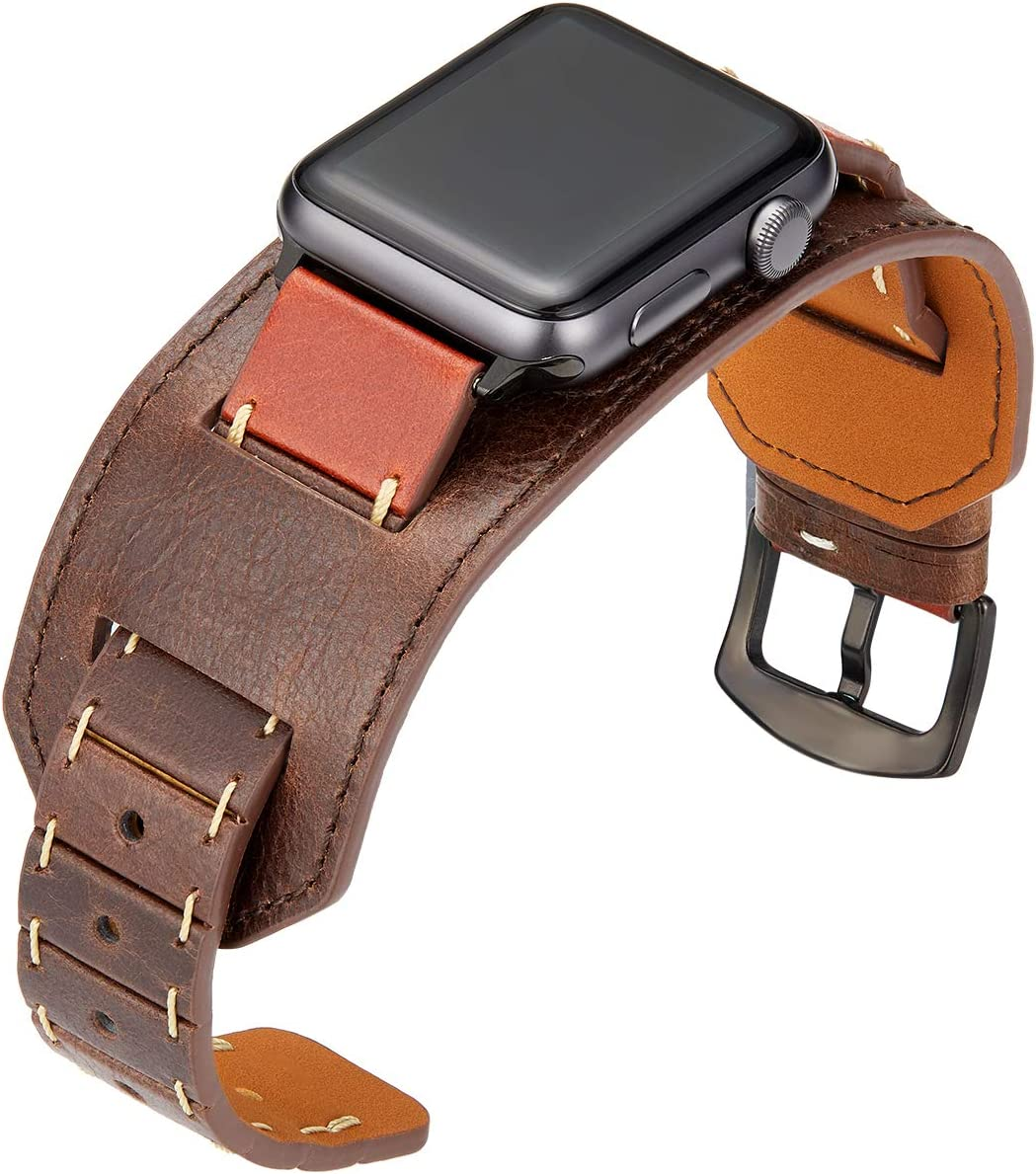 SEMILU Compatible with Apple Watch Band 38mm 40mm,Genuine Leather Replacement Strap Compatible with iwatch SE Series 6 5 4 3 2 1-38/40mm Brown