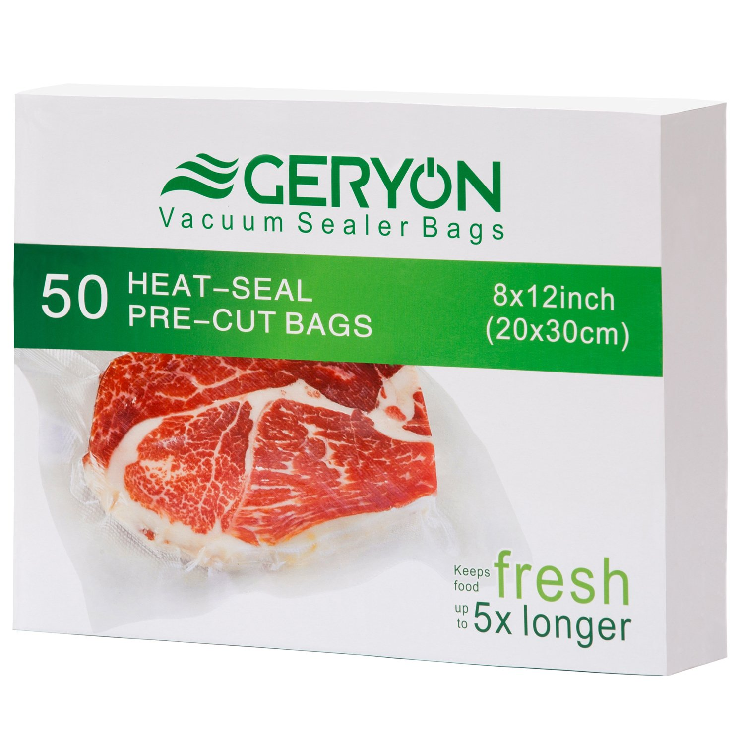 "GERYON Vacuum Sealer Bags, Pre-Cut Food Sealer Bags Quart Size 8""x12"" for Food Saver & Sous Vide Cooking, 50 Count"
