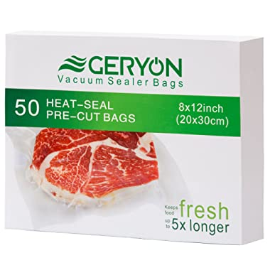 GERYON Vacuum Sealer Bags, Pre-Cut Food Sealer Bags Quart Size 8 x12  for Food Saver & Sous Vide Cooking, 50 Count