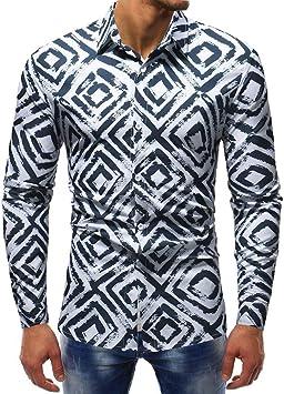 WWricotta LuckyGirls Camisa Negocio para Hombre de Manga Larga Formales Camisetas Estampado de Cuadrado Casual Entallada Remeras: Amazon.es: Deportes y aire libre