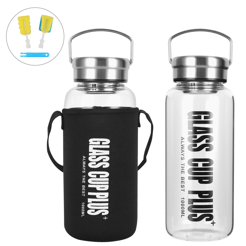 Amazon.com: Botella de agua de vidrio de 32 onzas de boca ...