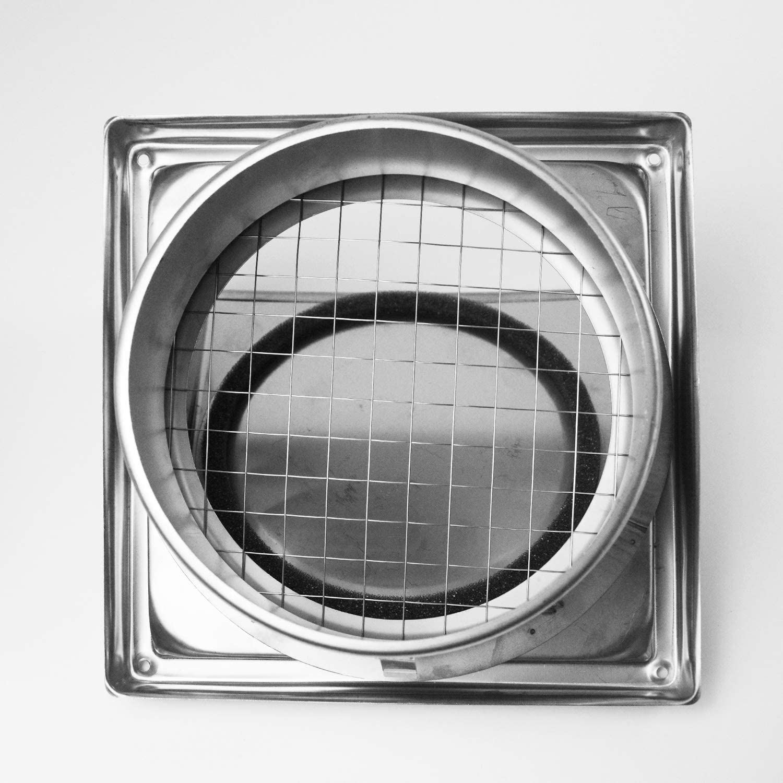 uyoyous - Rejilla de ventilación de pared con capucha de acero inoxidable (150 mm) - 6 pulgadas para secadora de secadora con tapa acolchada sin retorno para ventilador de baño o cocina: