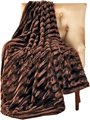 Collections Etc Striped Faux Mink Throw Blanket, 50L x 60W, Machine Washable, Brown