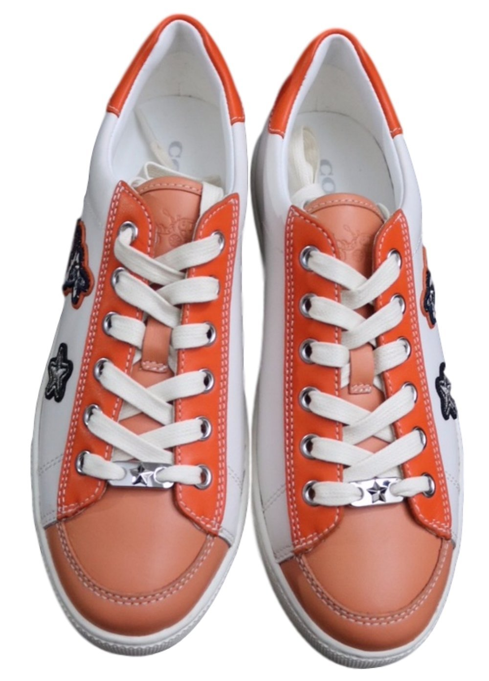 Coach Porter Lace Up Sneakers (8, white/coral)