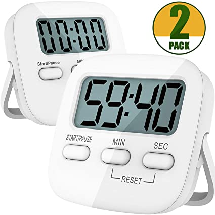 Kitchen Timer, 2 Pack Digital Kitchen Timer Magnetic Countdown Stopwatch  Timer With Loud Alarm,