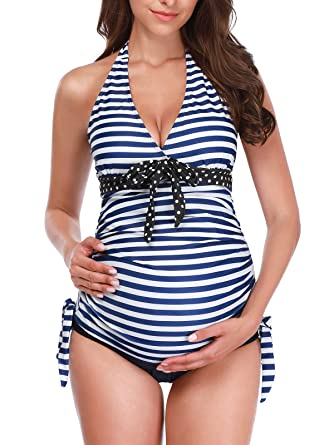 367f79ff86469 Zando Women Maternity Tankini Striped Two Piece Pregnant Beach Swimwear  Plus Size Pregnancy Tankini Swimsuits for