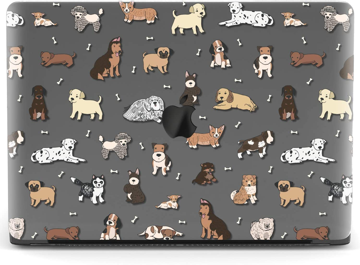 Mertak Hard Case for Apple MacBook Pro 16 Air 13 inch Mac 15 Retina 12 11 2020 2019 2018 2017 Puppies Bones Protective Cover Plastic Pets Clear Design Breeds Dogs Print Pug Laptop Touch Bar Corgi