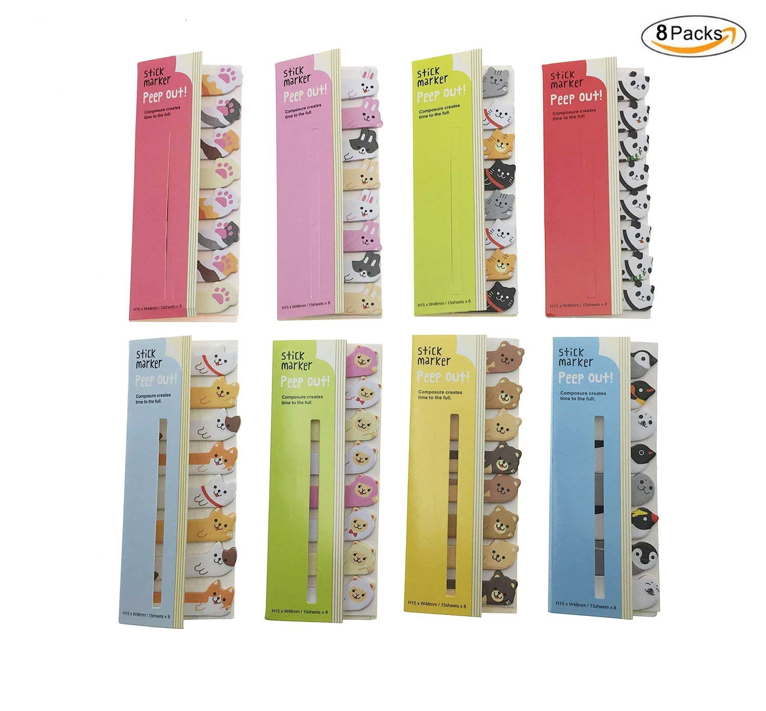 Set of 8 Cute Kawaii Cartoon Animal Panda Bear Dog Rabbit Sheep Cat Penguin Sticker DIY Memo Pad Sticky Notes Notepaper Office School Supplies …