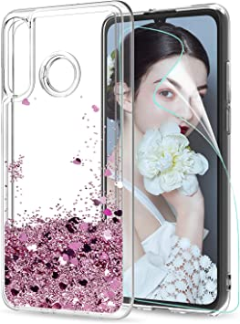 LeYi Funda Huawei P30 Lite P30 Lite New Edition 2020 Silicona Purpurina Carcasa con HD Protectores de Pantalla,Transparente Bumper Telefono Gel TPU