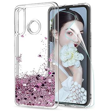 LeYi Funda Huawei P30 Lite Case Silicona Purpurina Carcasa con HD Protectores de Pantalla,Transparente Cristal Bumper Telefono Gel TPU Fundas Cover ...