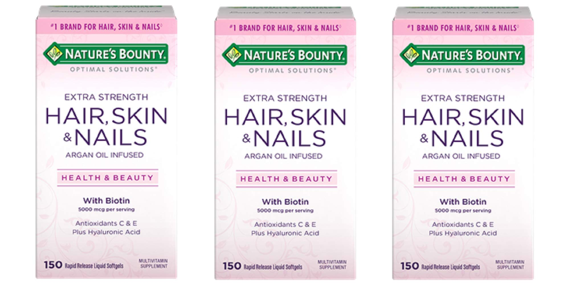 Nature's Bounty Extra Strength Hair Skin Nails, 150Count, Pack of 3