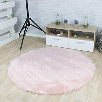 Elegant Taracarpet Kunstfell Teppich Rosa 060x060 Cm Rund Schaffell Imitat  Wohnzimmer Schlafzimmer Kinderzimmer Auch Als Bett