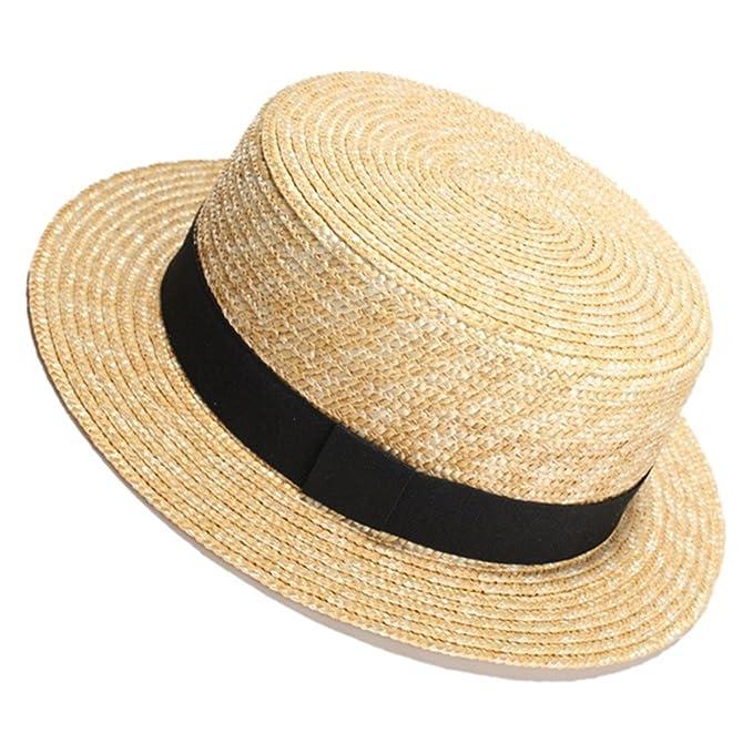 10d731a7ef0 Women Summer Beach Sun Hats Flat Top Straw Hat Men Boater Hats Bone  Feminino Black at Amazon Men s Clothing store