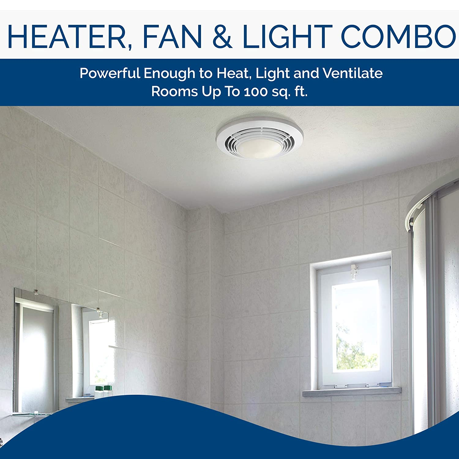 Broan-Nutone 9093WH Exhaust Fan, Heater, and Light Combo ...