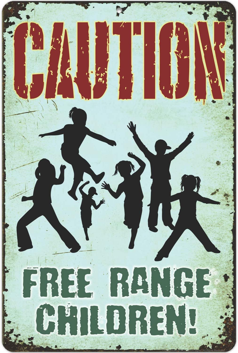 ATX CUSTOM SIGNS - Rustic Novelty Bar Sign, Caution, Free Range Children Sign Indoor/Outdoor - Size 8 x 12