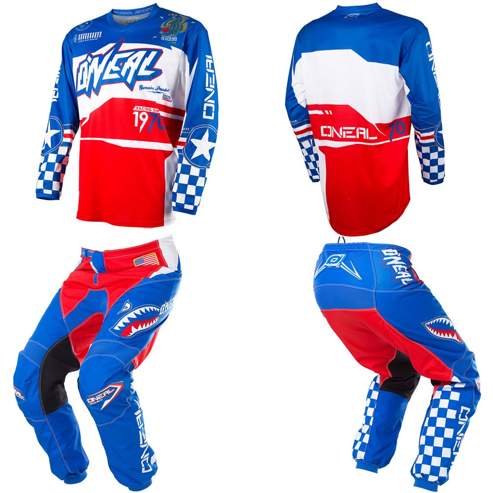 O'Neal Element Afterburner Blue/Red/White motocross MX off-road dirt bike Jersey Pants combo riding gear set (Pants W34/Jersey X-Large)