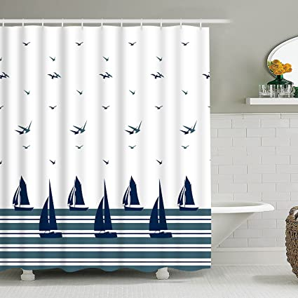 BLEUM CADE Bathroom Shower Curtain Seabird Sailboat Nautical Theme Curtains With 12 Hooks Waterproof
