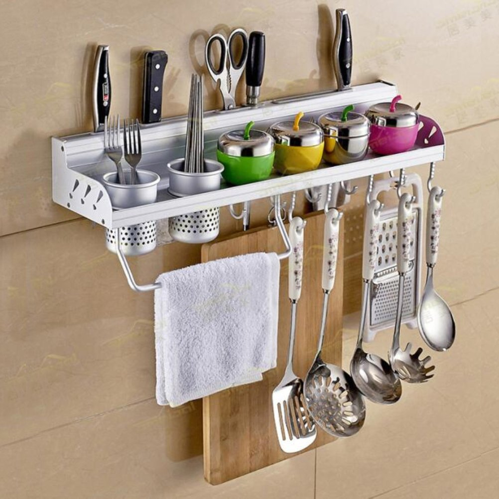 Amazon.com: Multifunctional Wall Hanging Aluminum Kitchen Rack Of Wall  Shelf, Condiment Bottle Rack, Utensil/Pot/Pan Hanger Hook, Pot Organizer,  ...