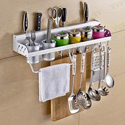 Multifunctional Wall Hanging Aluminum Kitchen Rack Of Wall Shelf, Condiment  Bottle Rack, Utensil/