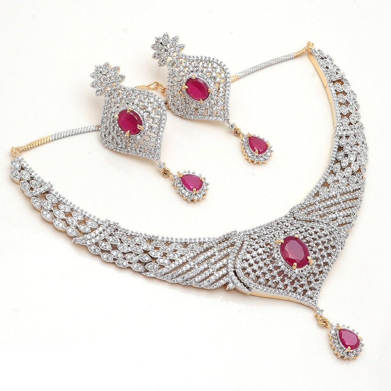 Buy Jewar Mandi Ruby Necklace Set original two tone gold plated ...