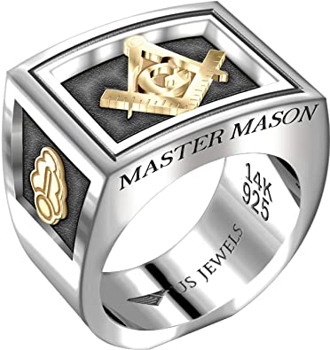 9a84c0994 US Jewels And Gems Men's Two-Tone Master Mason 0.925 Sterling Silver and  14k Yellow