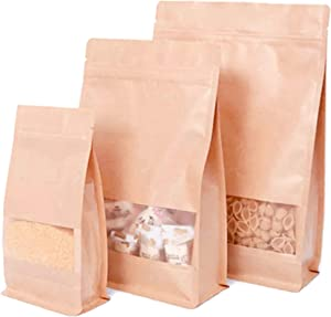 Pholu 50Pcs Window Bags Food Grade Bean Coffee Tea Nut Kraft Brown Paper Stand Up Flat Bottom Pouch Resealable Reusable Zip Lock Heat Sealable Tear Notch