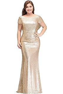 98edbd513fb8d0 MisShow Women Plus Size Rose Gold Sequin Prom Bridesmaid Dresses Evening  Gowns Formal