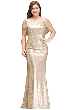 MisShow Women Plus Size Rose Gold Sequin Prom Bridesmaid Dresses ...