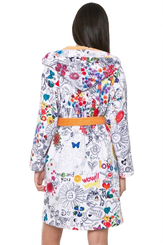 Desigual Bolimania Cotton Dressing Gown White/Black/Orange, Blanco ...