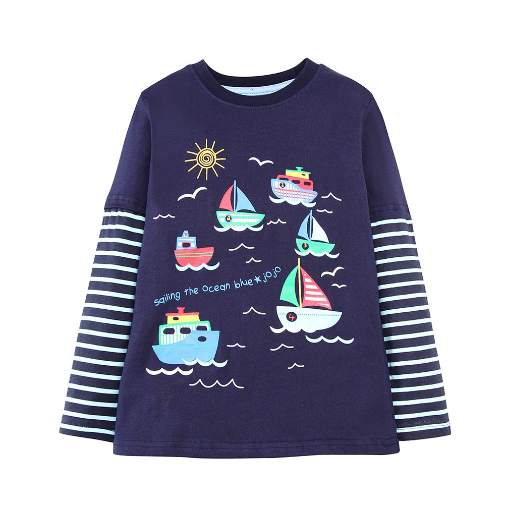 KIDSALON Little Boys' Cotton Crewneck Long Sleeve Cartoon T-shirt (24M, Ships)