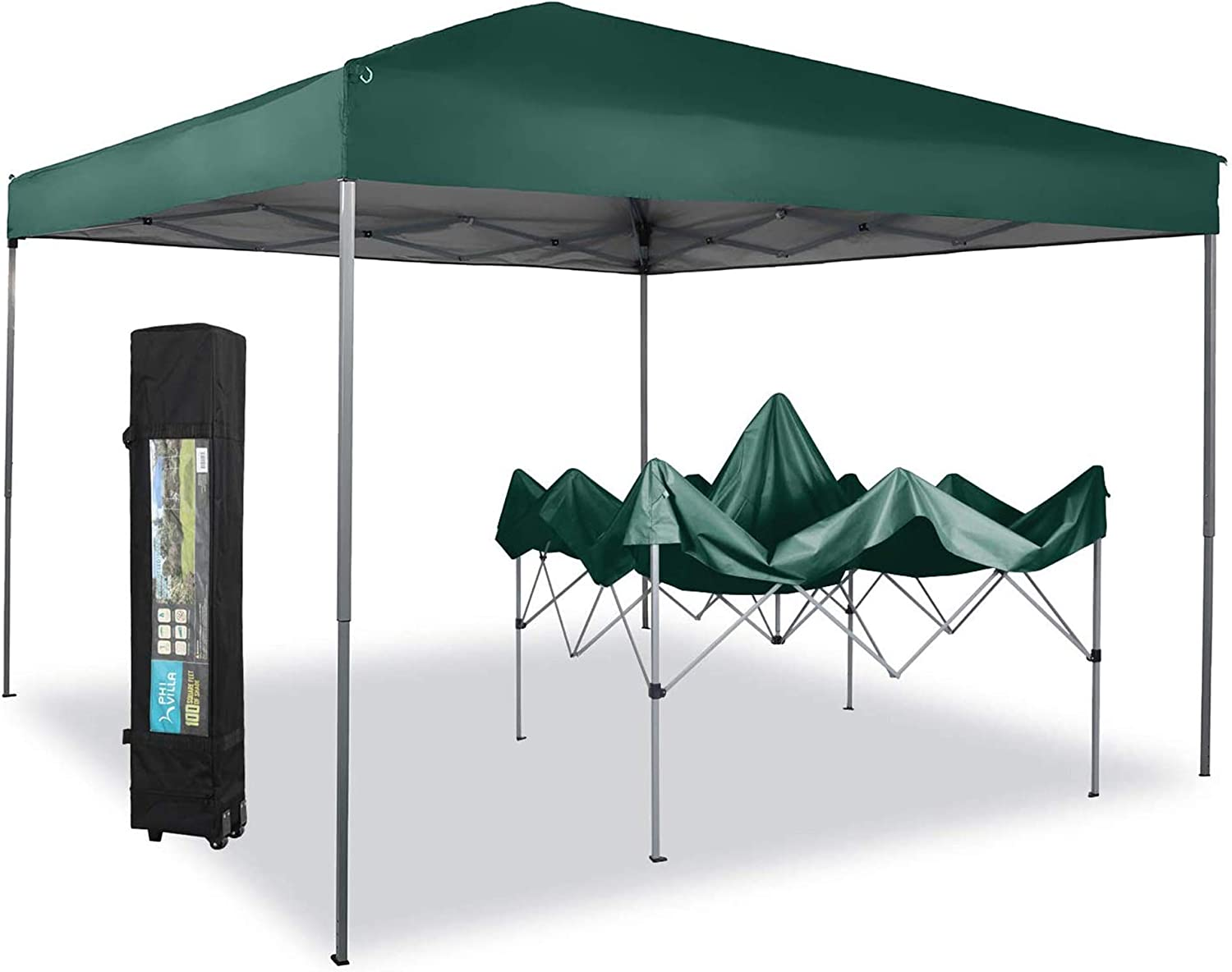PHI VILLA 10 x 10ft Portable Pop Up Canopy Event Tent Party Tent, 100 Sq. Ft of Shade (Green)…