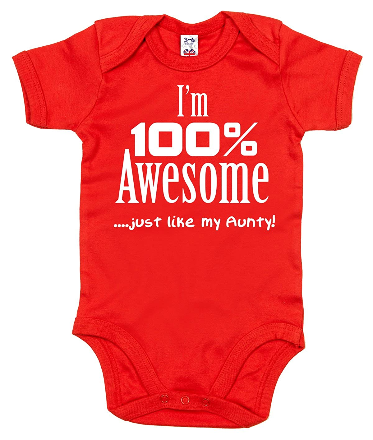 Dirty Fingers, I'm 100% Awesome, just like my Aunty, Baby Girl Bodysuit I' m 100% Awesome