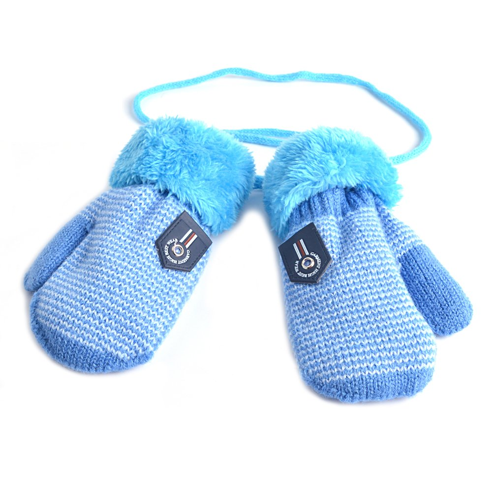 HOOYEE Infant Baby Toddler Unisex Winter Thick Warm Knitted Gloves Mittens with String D1084
