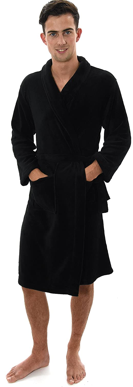 Mens Knee Length Corel Fleece Wrapover Dressing Gown, 5 Colours, XS-XL 79697