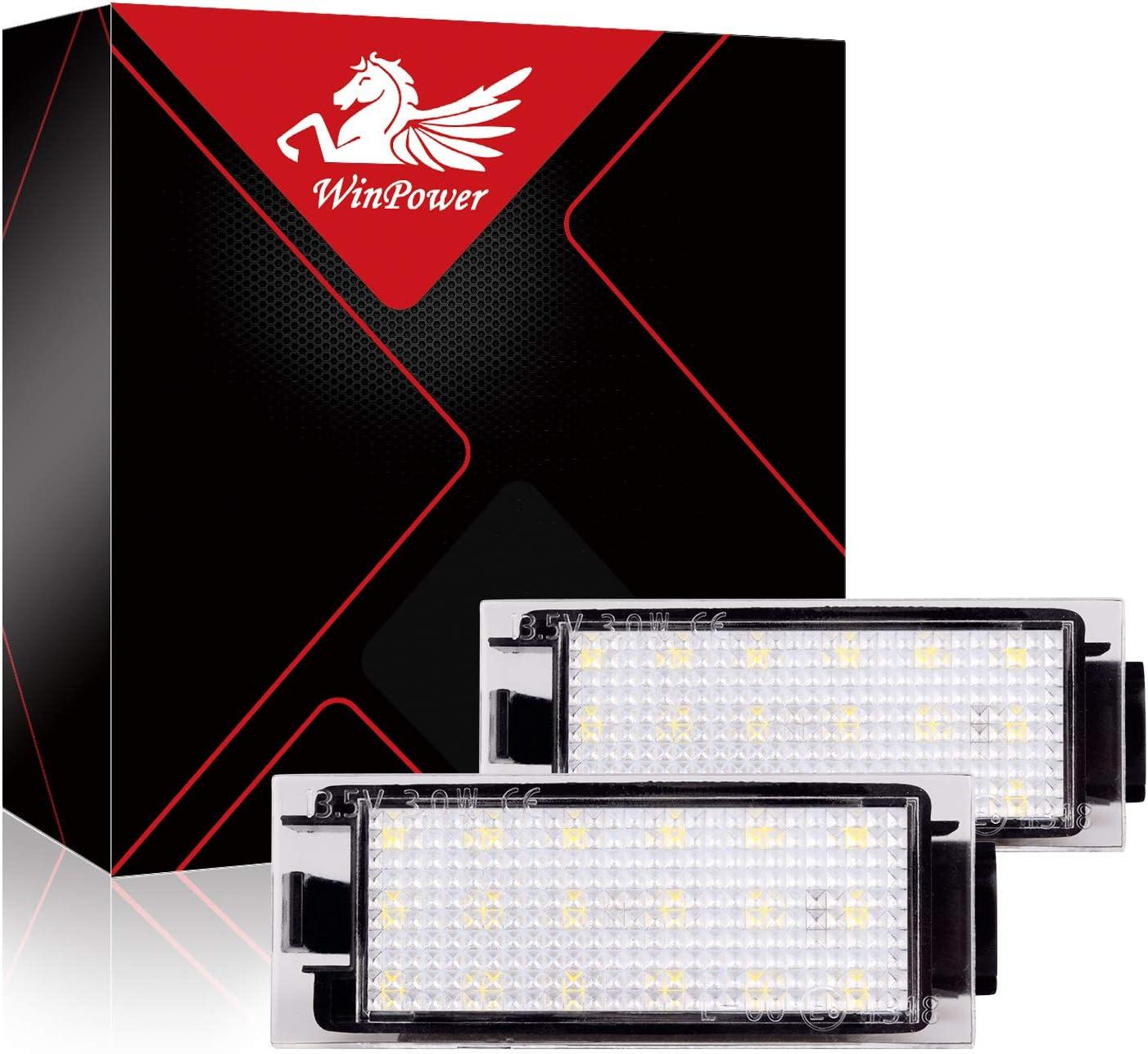 WinPower LED Plaque dimmatriculation Lumi/ère ampoule Trousse blanc Pas derreur Lampe 18 SMD Mise /à niveau des lumi/ères 2 pi/èces