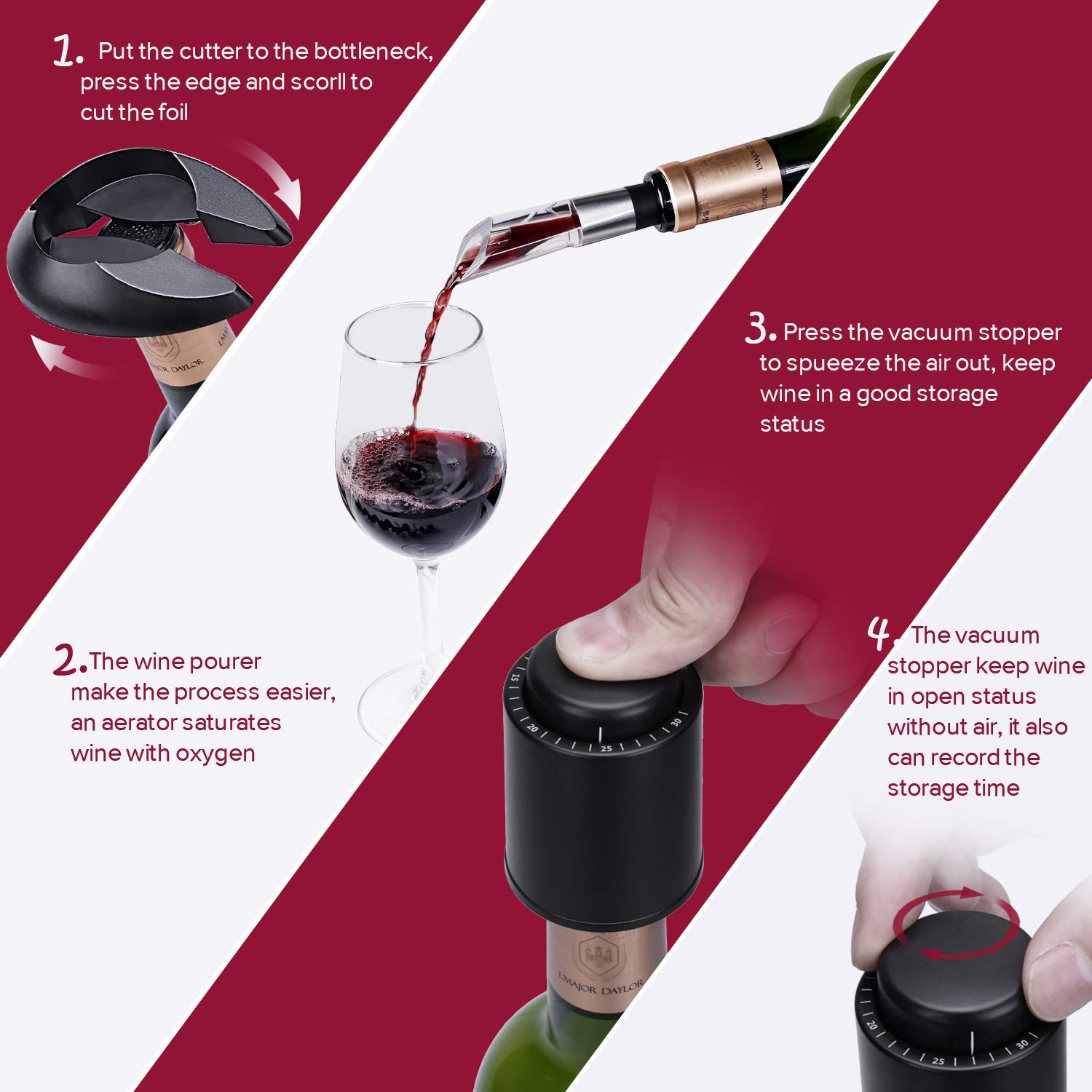 Wine Pourer Vacuum Stopper Stainless Steel Charger Electric Wine Opener GlobaLink Electric Corkscrew Bottle Opener Rechargeable Automatic Air Pressure Wine Opener with Foil Cutter
