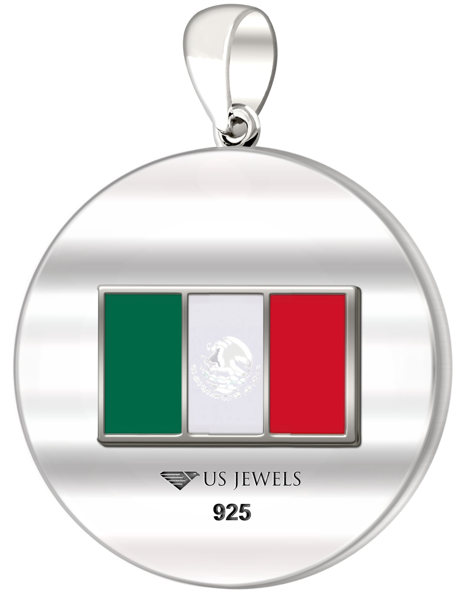 0.925 Sterling Silver 1in DNA Certified Mexican Heritage Pendant Medal with Flag 3.3mm Rope Necklace, 24'' by US Jewels And Gems (Image #4)