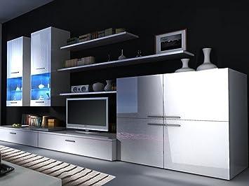 Amazoncom Beta Living Room Set High Gloss Entertainment Package - White gloss wall units living room