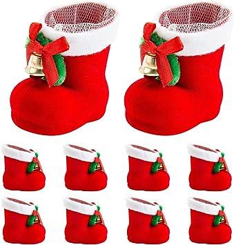 Candy Home Noël à Chaussures Rouge Sacs Décorations 10 Noël Père de Snacks Pen pcs Arbre Sac Décorations Chaussette Container Bottes de cadeau rthQsd