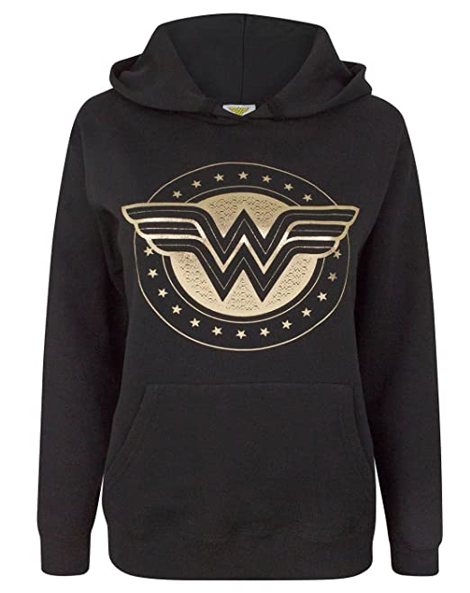 Wonder Woman Foil Shield Womens Hoodie ...
