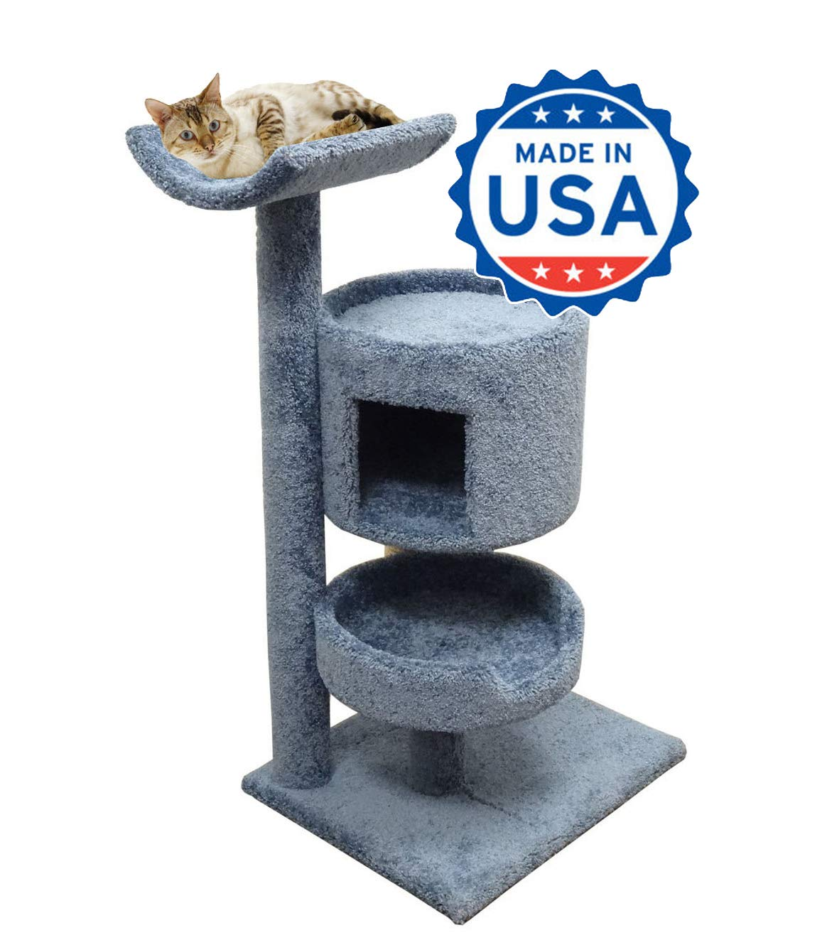 CozyCatFurniture 45 inches Wooden Cat Furniture with Large Kitty Bed & Condo, 3 Tier Cat Tree Tower in Blue Carpet by CozyCatFurniture