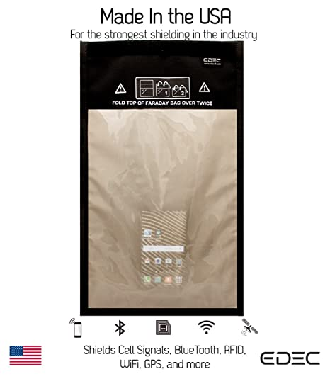 EDEC Faraday Bag - RF Signal Isolation for Forensics, Large Window Size -  Signal Blocking, Anti-tracking, Anti-spying, Radiation protection for Cell